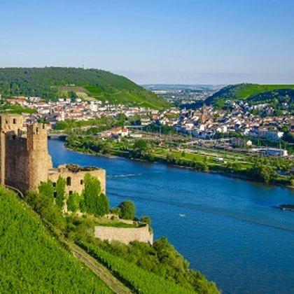 Bingen, aufgenommen von der gegenüberliegenden Rheinseite
